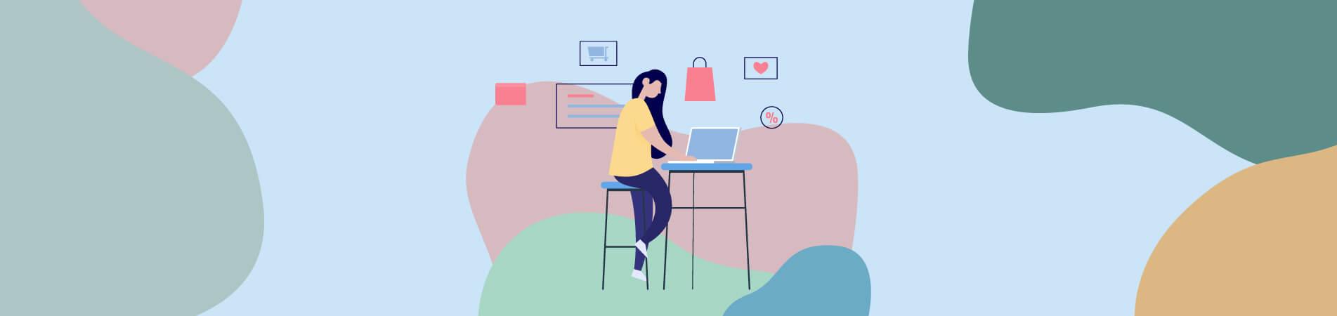 איור של אישה שגולשת במחשב וסביבה אלמנטים המדמים את עולם השיווק